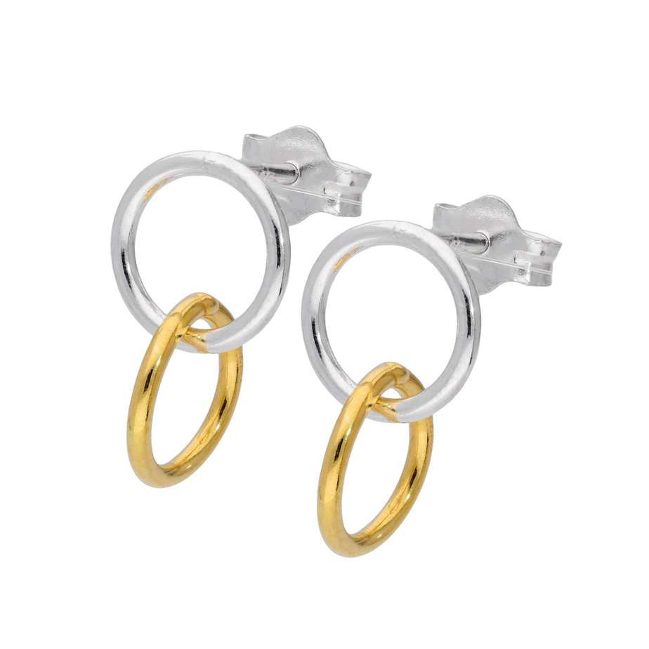 Sterling Silver Interlocking Double Circle Stud Drop Earrings