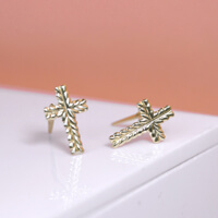 An image showing the Crucifix Stud Earrings