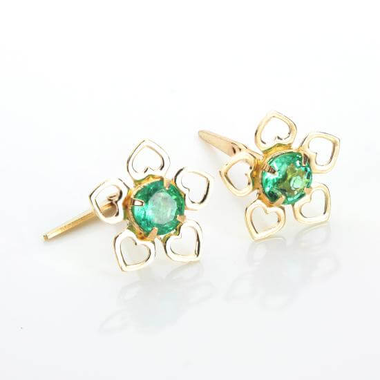 Emerald & Gold Earrings & Nose Studs