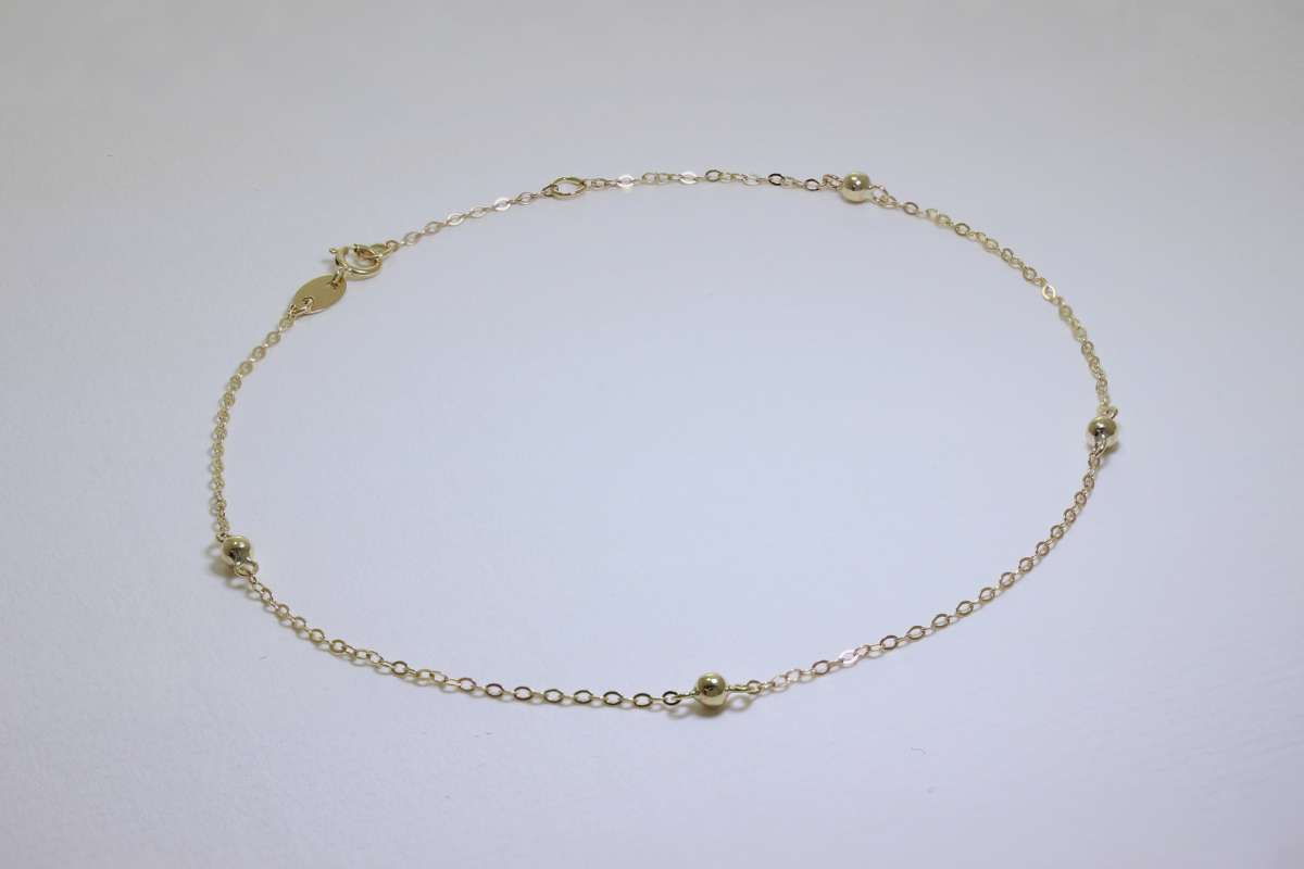 Alterative image for 9ct Gold Hammered Trace Bobble 9.5 Inch Extender Anklet