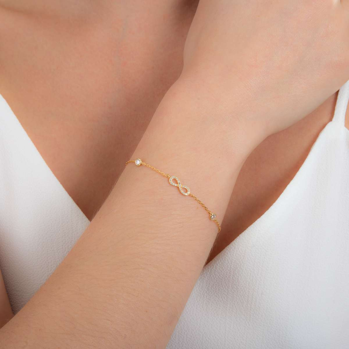 Alterative image for Yellow Gold Plated Fine Sterling Silver Infinity & Round Clear CZ Adjustable Bracelet