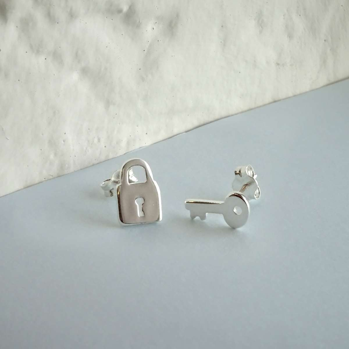 Alterative image for Sterling Silver Key Padlock Stud Earrings