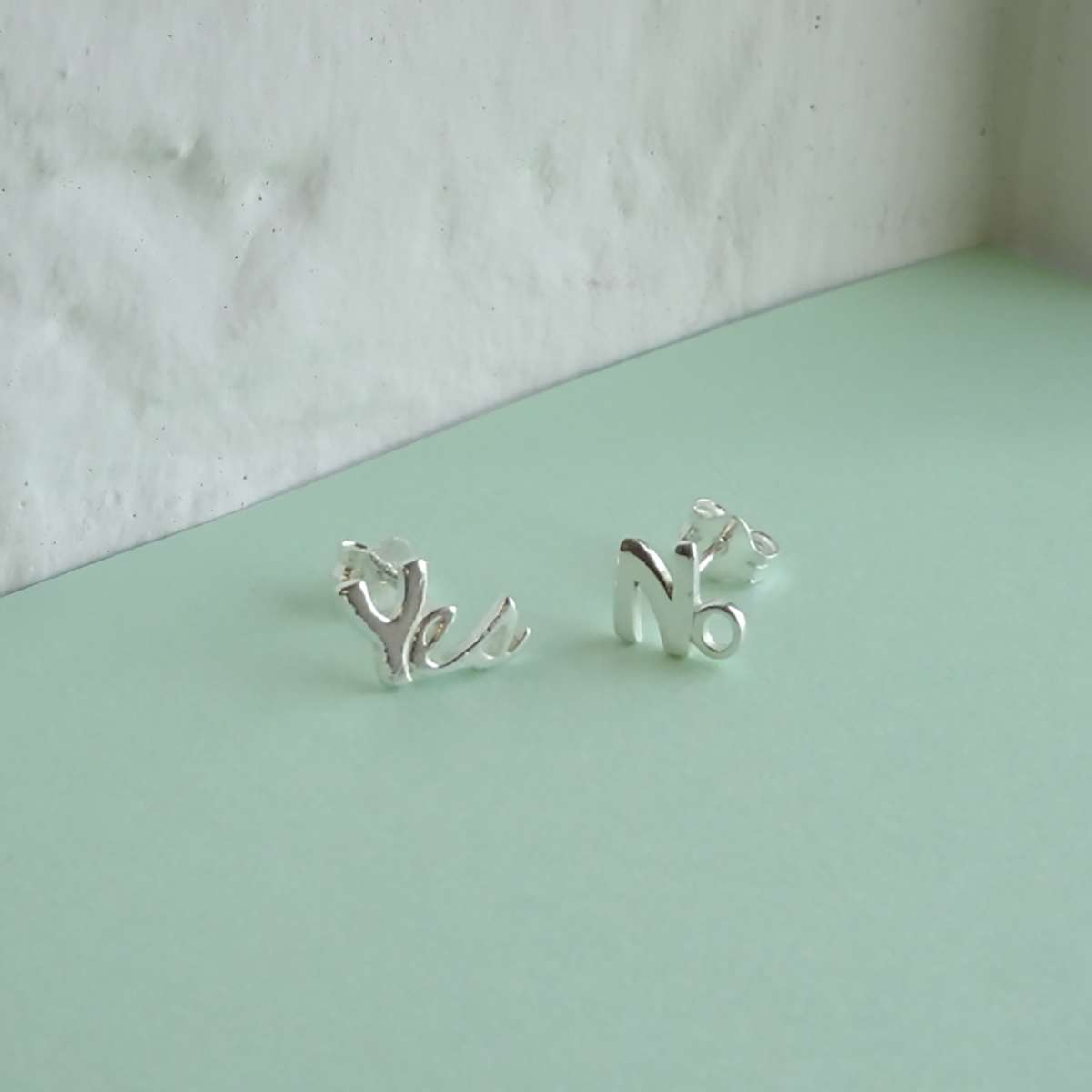 Alterative image for Sterling Silver Yes No Stud Mix and Match Stud Earrings