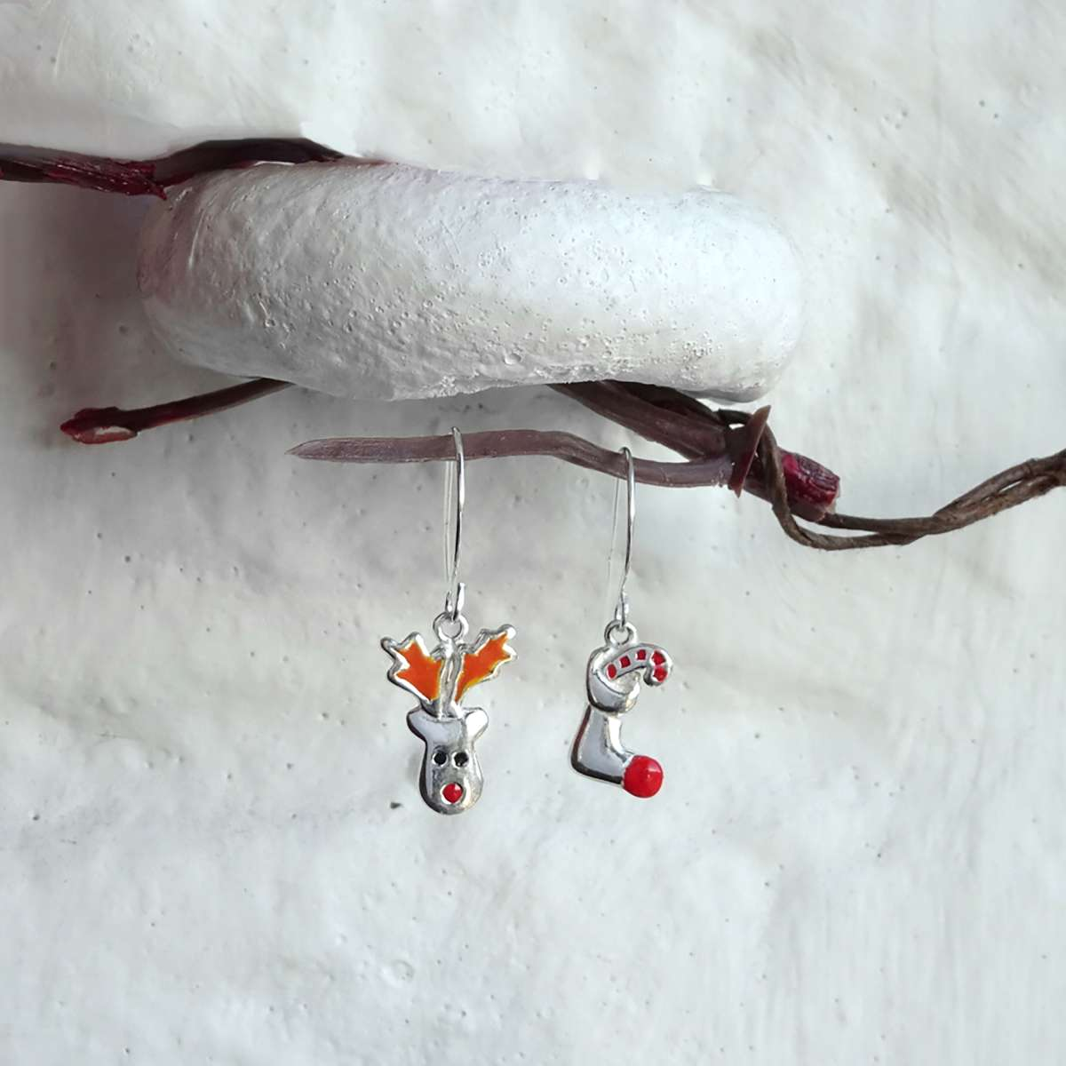 Alterative image for Sterling Silver Red Nose Reindeer Christmas Stocking Mix & Match Dangle Drop Earrings