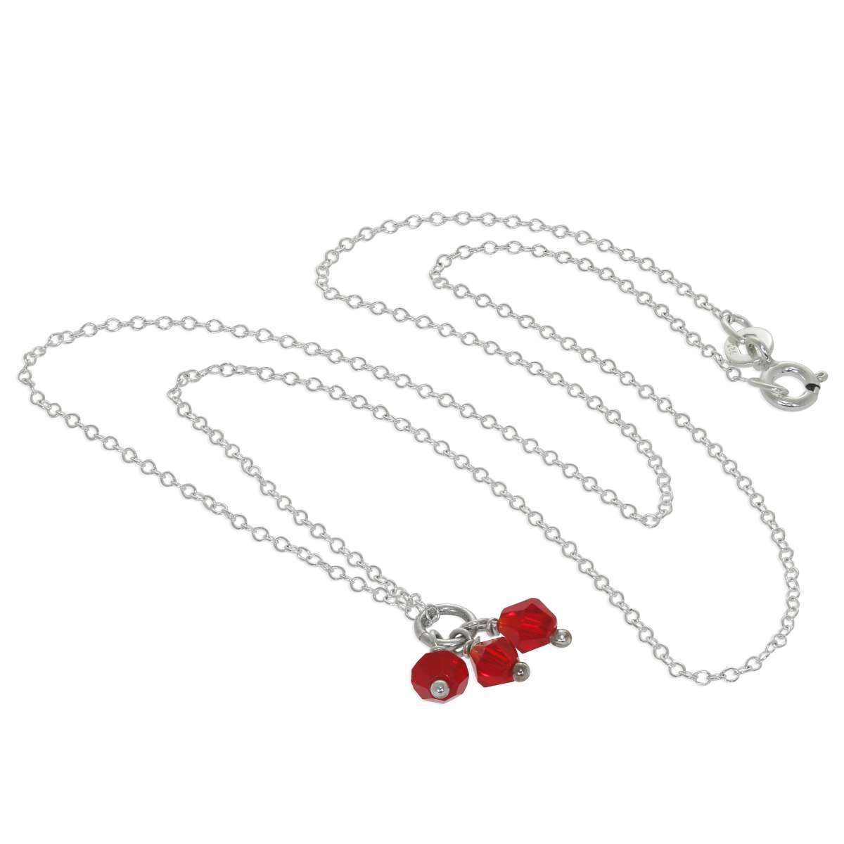 Alterative image for Triple Sterling Silver Red CZ Bead Necklace - 14 - 22 Inches