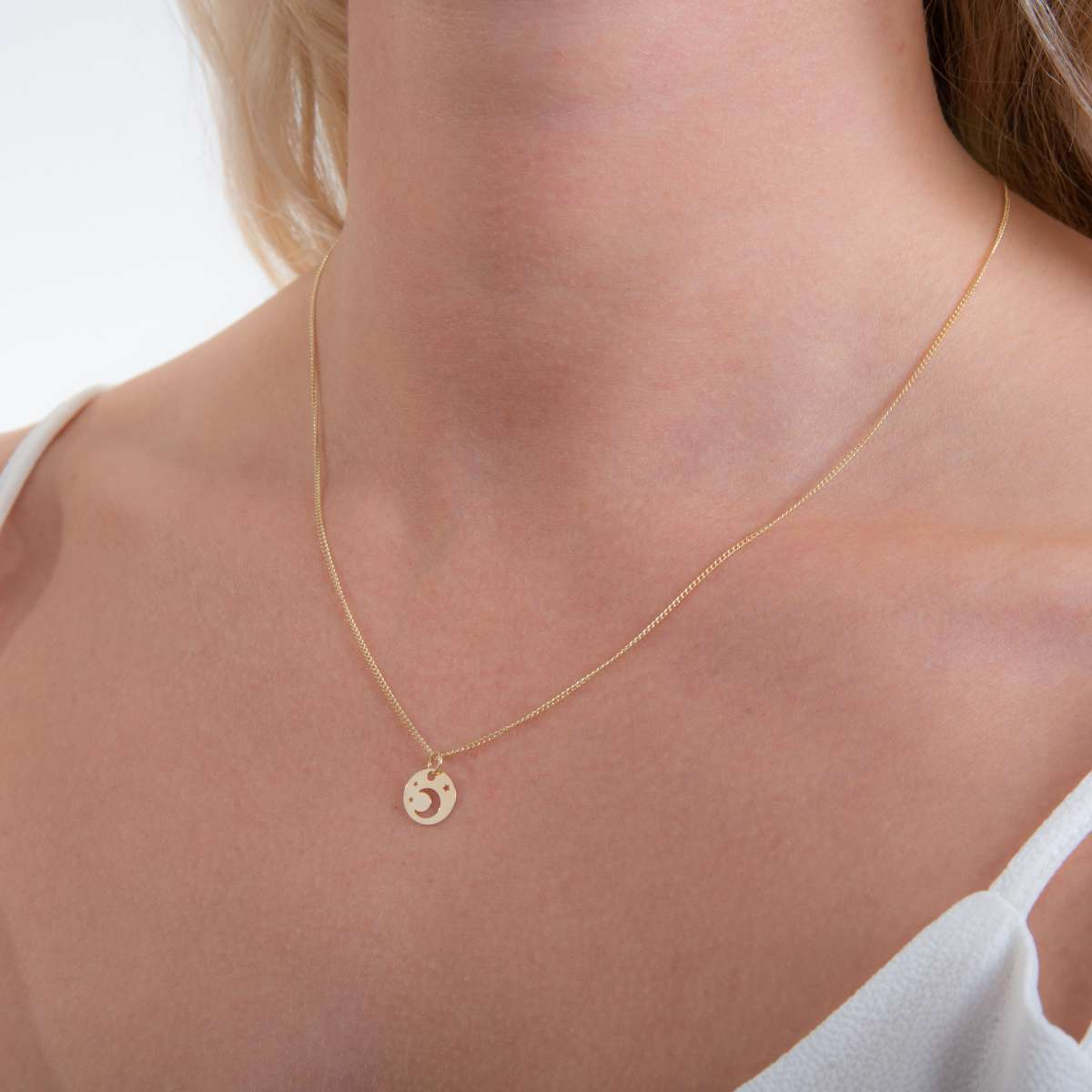 Alterative image for 9ct Gold Moon & Star Flat Necklace - 16 - 18 Inches