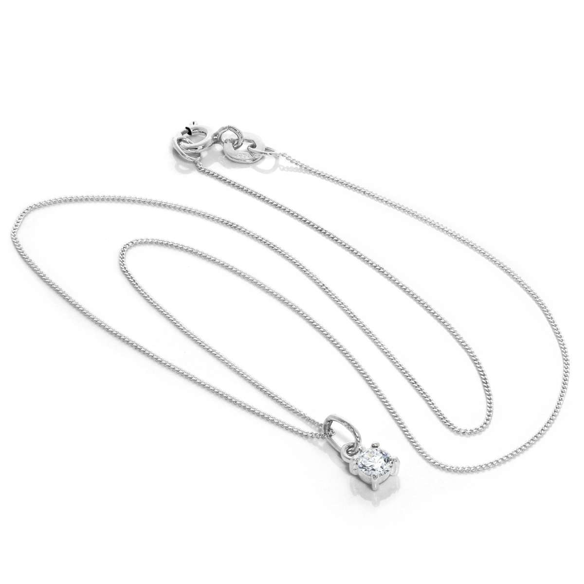 Alterative image for Sterling Silver Clear CZ April Birthstone Claw Necklace - 14 - 32 Inches