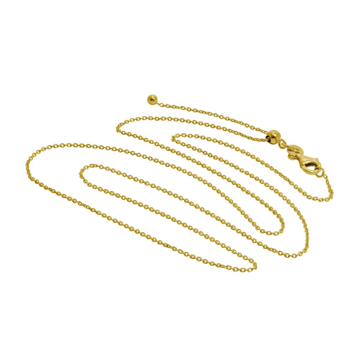 Alterative image for Gold Plated Sterling Silver Adjustable Slider Necklace 24 Inches