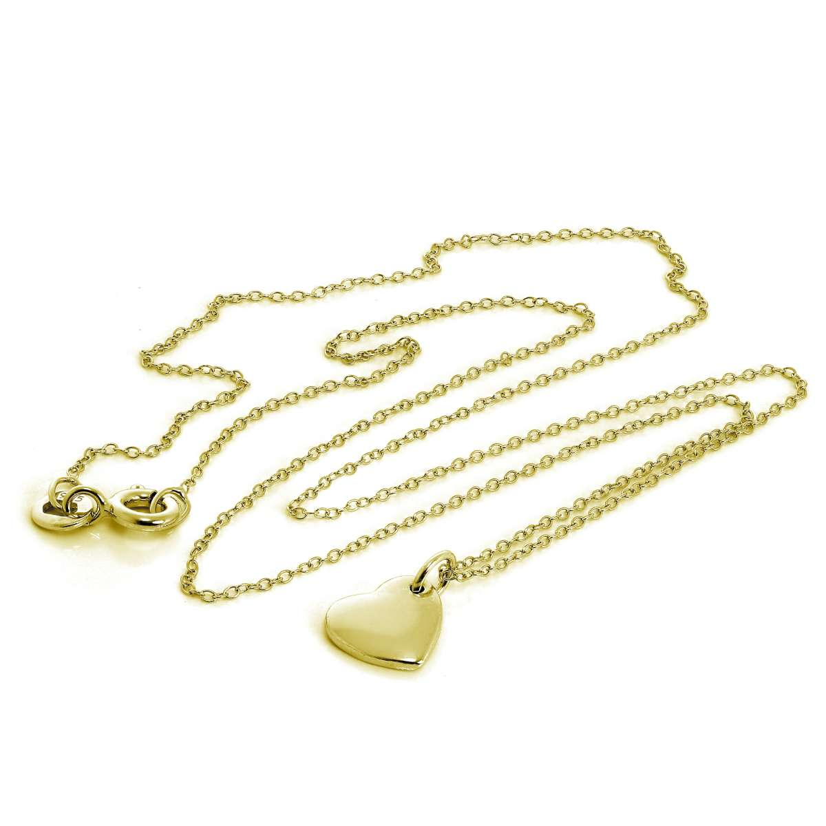 Alterative image for Gold Plated Sterling Silver Engravable Heart Necklace 18 Inches