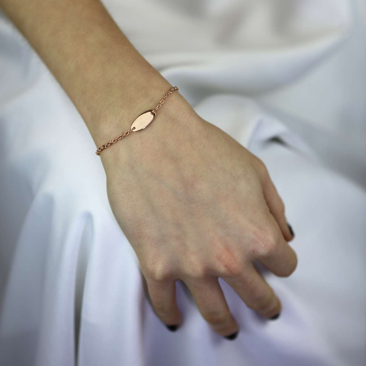 Alterative image for Rose Gold Plated Sterling Silver Engravable ID Bracelet 6 Inches