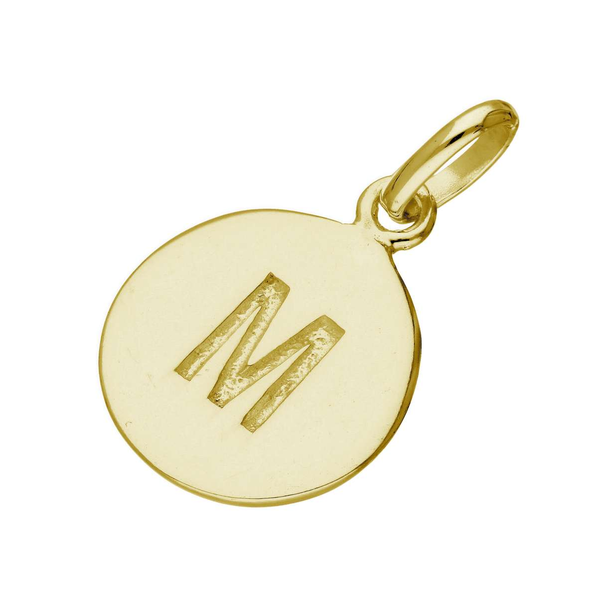 Alterative image for Gold Plated Sterling Silver Engravable Letter M Charm