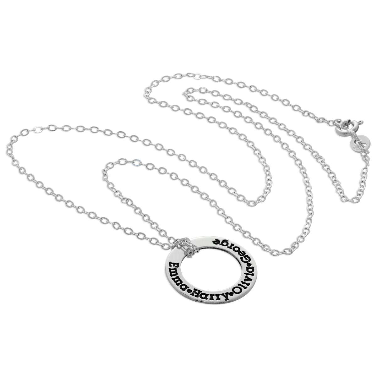 Alterative image for Bespoke Sterling Silver Name Circle Necklace 16-28 Inches