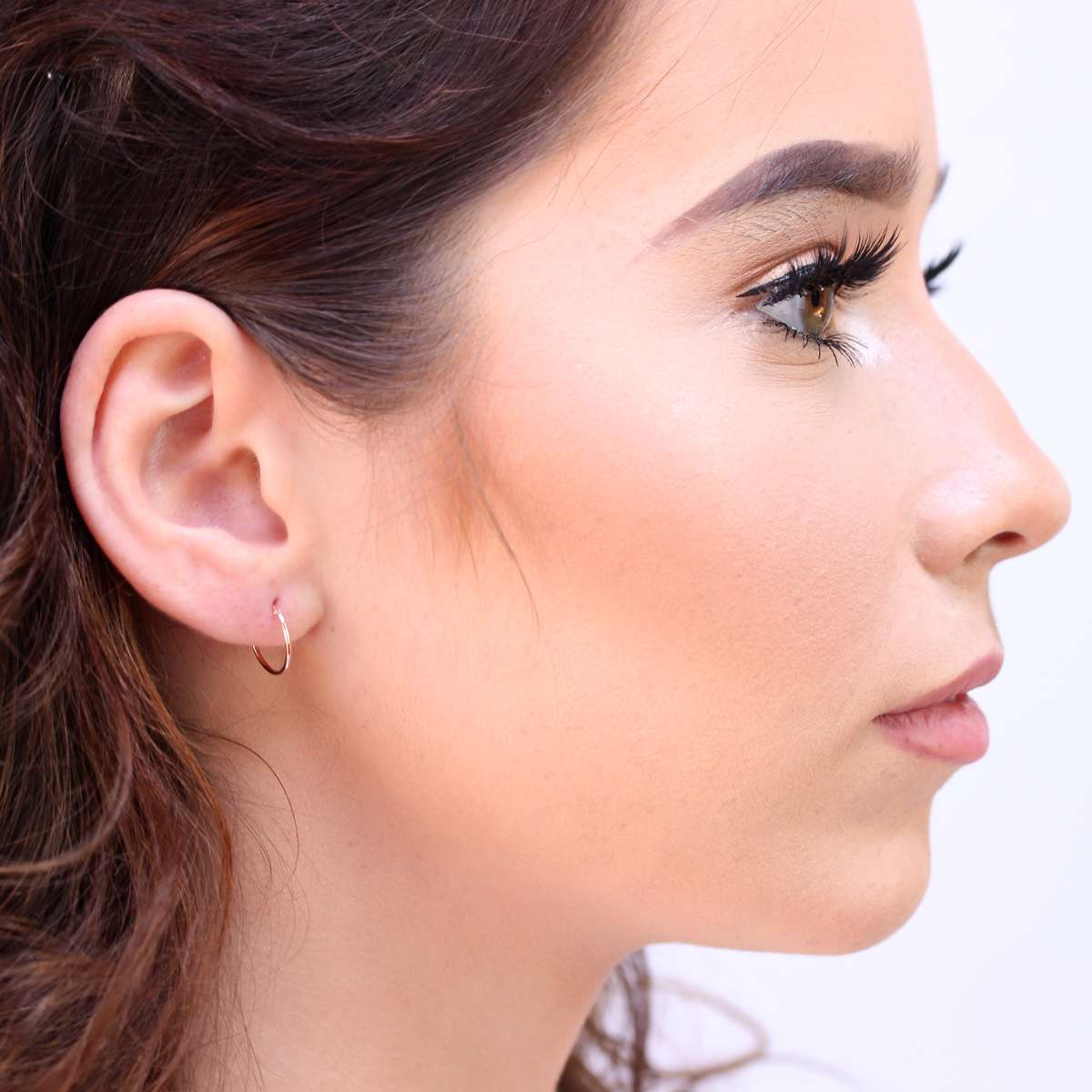 Alterative image for 9ct Rose Gold Light 12mm Sleeper Hoop Earrings