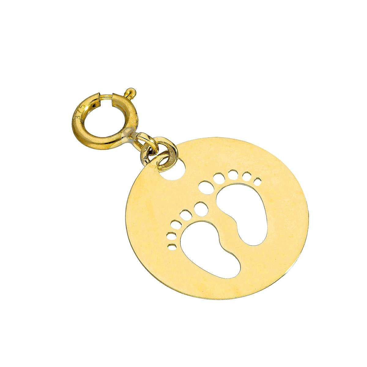 Alterative image for 9ct Gold Circle w Cut Out Footprints Clip On Charm