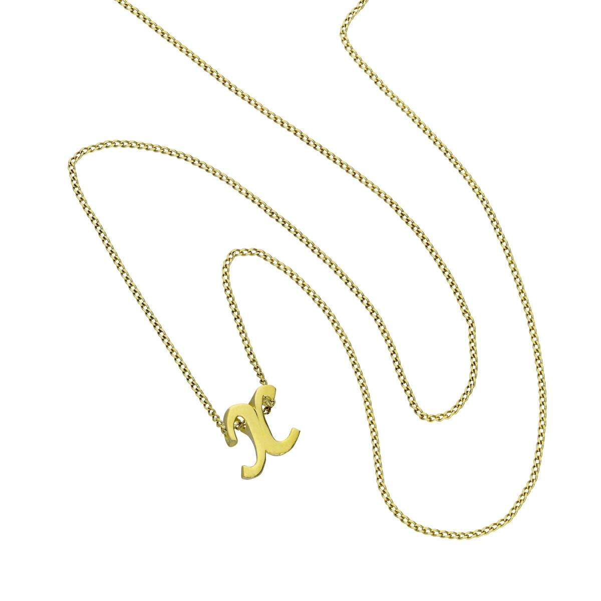 Alterative image for Tiny 9ct Gold Alphabet Letter X Pendant Necklace 16 - 20 Inches