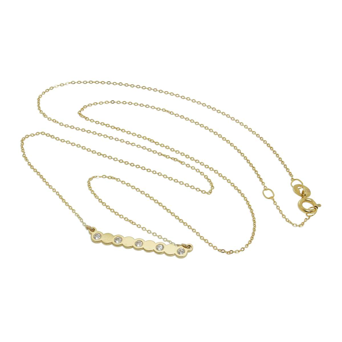 Alterative image for 9ct Gold & Clear CZ Crystal Circles Fine 1mm Curb Necklace 16 Inches