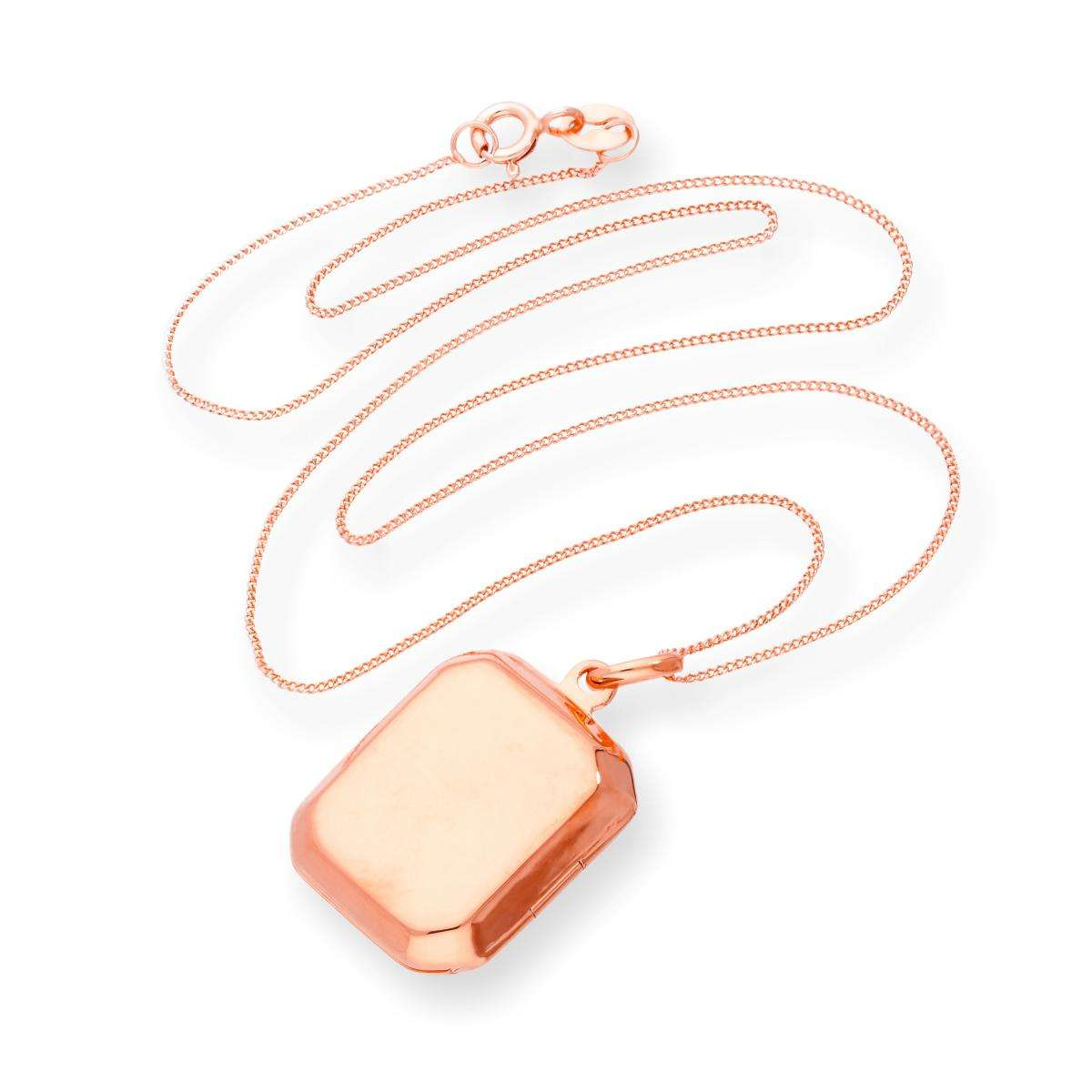 Alterative image for Rose Gold Plated Sterling Silver Engravable Octagonal Locket 16 - 22 Inches