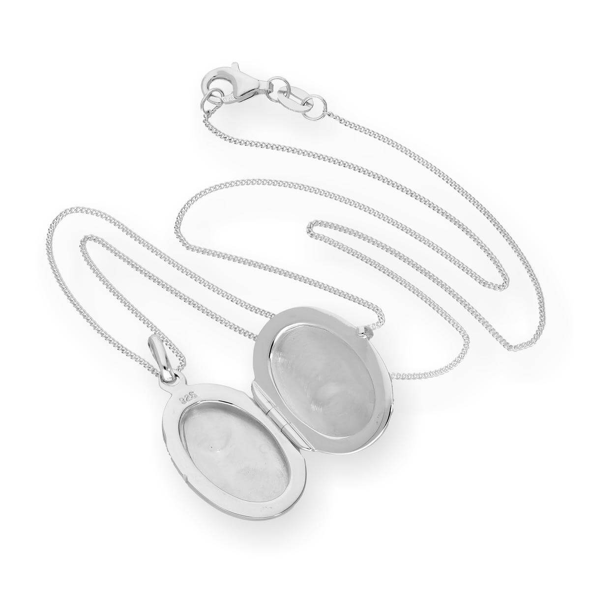 Alterative image for Sterling Silver Engravable Oval Locket on Chain 16 - 22 Inches