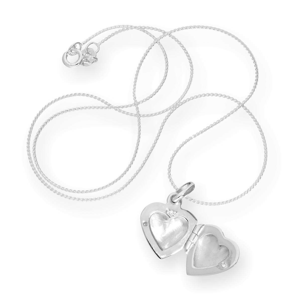 Alterative image for Sterling Silver Puffed Heart Engraved Locket on Chain 16 - 22 Inches