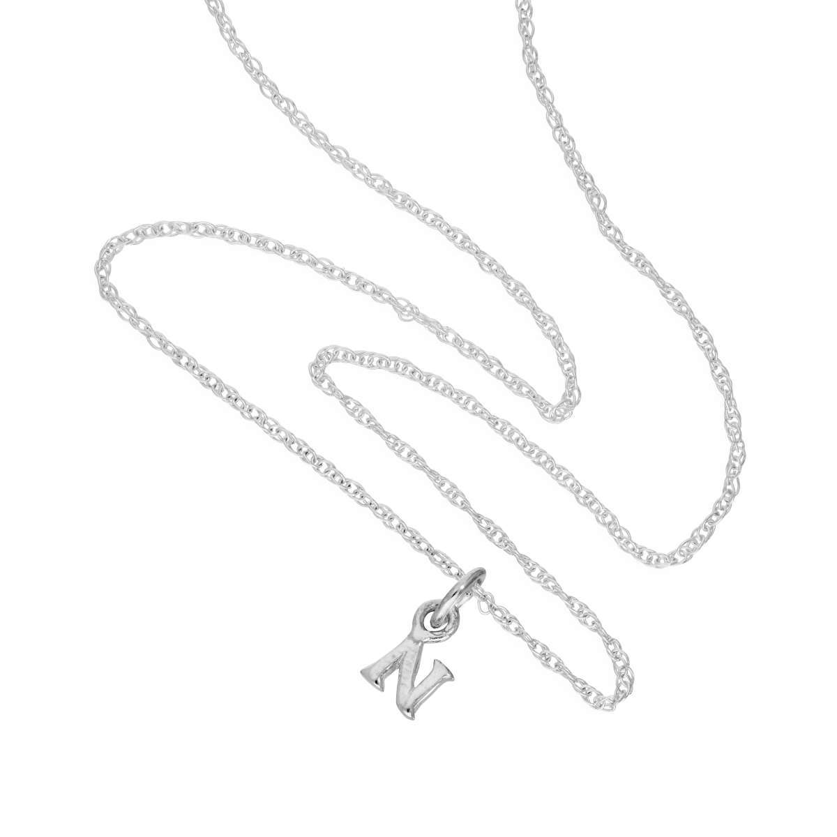 Alterative image for Tiny Sterling Silver Alphabet Letter N Pendant Necklace 14 - 22 Inches
