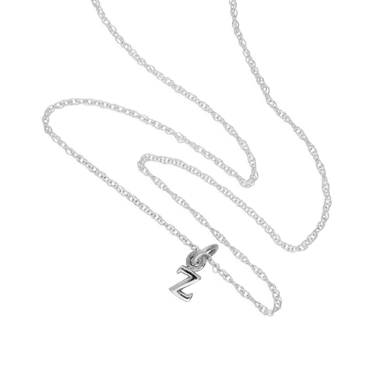 Alterative image for Tiny Sterling Silver Alphabet Letter Z Pendant Necklace 14 - 22 Inches