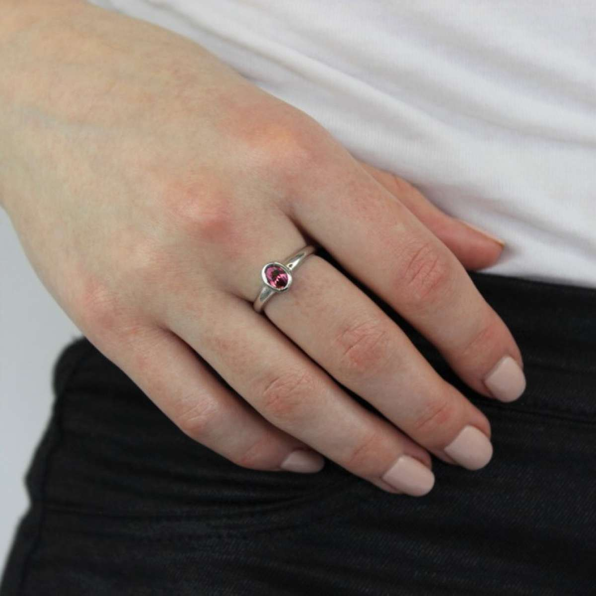Alterative image for Sterling Silver & Tourmaline CZ Crystal Oval October Birthstone Ring Sizes J - U