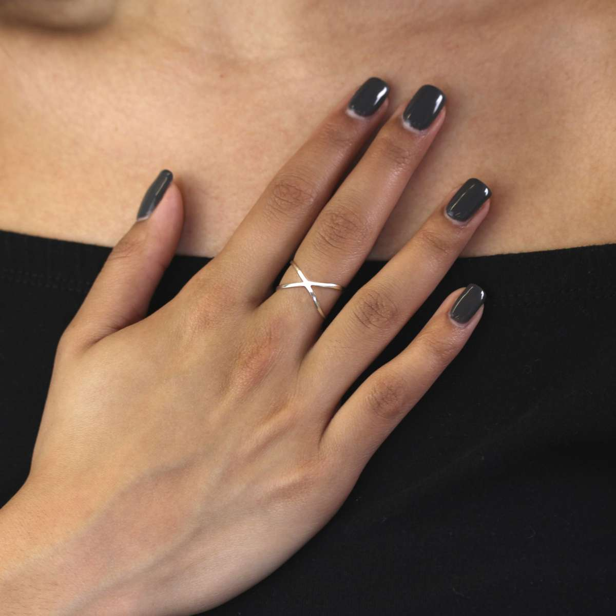 Alterative image for Sterling Silver Criss Cross Ring Sizes K - X