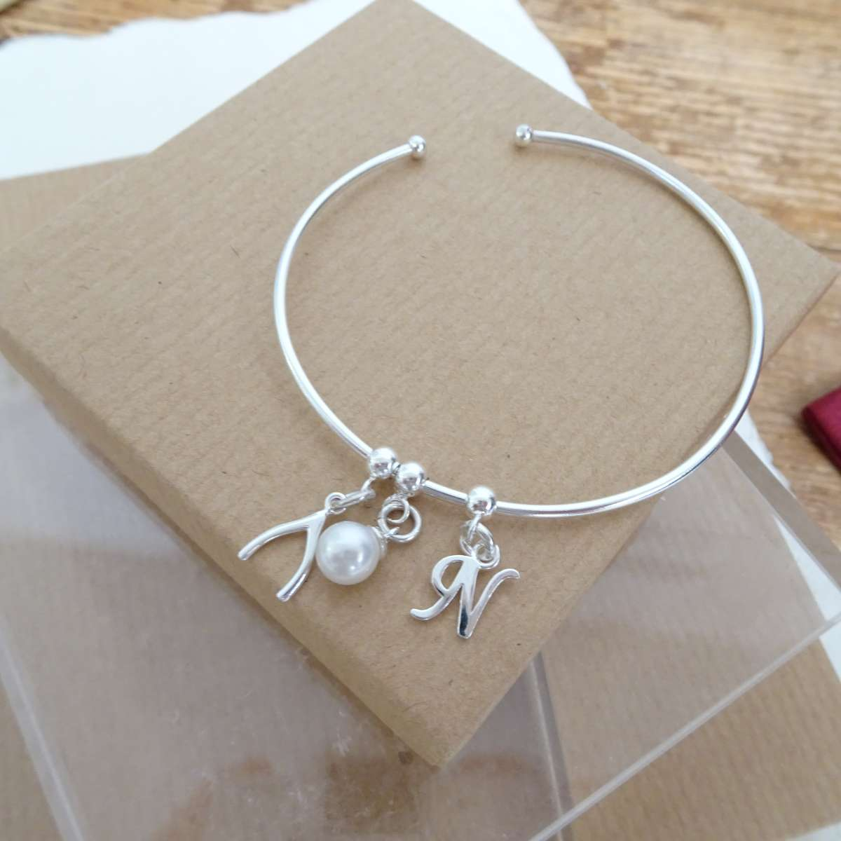 Alterative image for Sterling Silver Initial Letter & Pearl & Wishbone Adjustable Cuff Charm Bangle