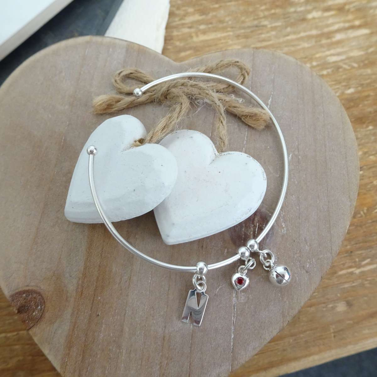 Alterative image for Sterling Silver Initial Letter & Birthstone Heart & Wishbone or Ball Adjustable Cuff Charm Bangle