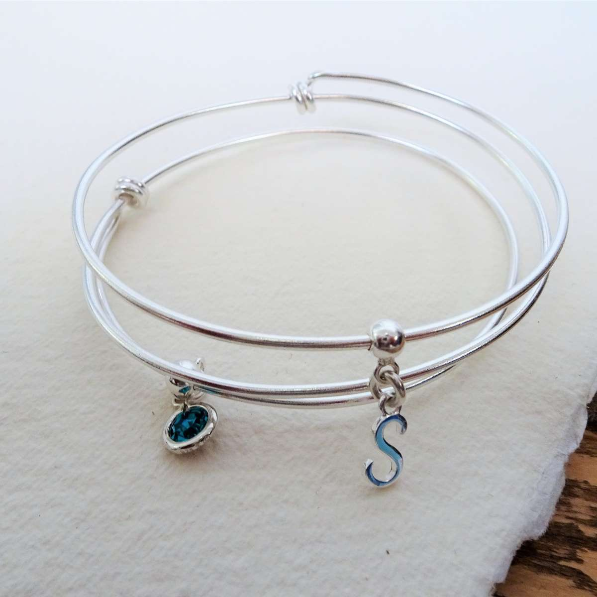 Alterative image for Sterling Silver Initial Letter & Round Birthstone Adjustable Charm Bangle