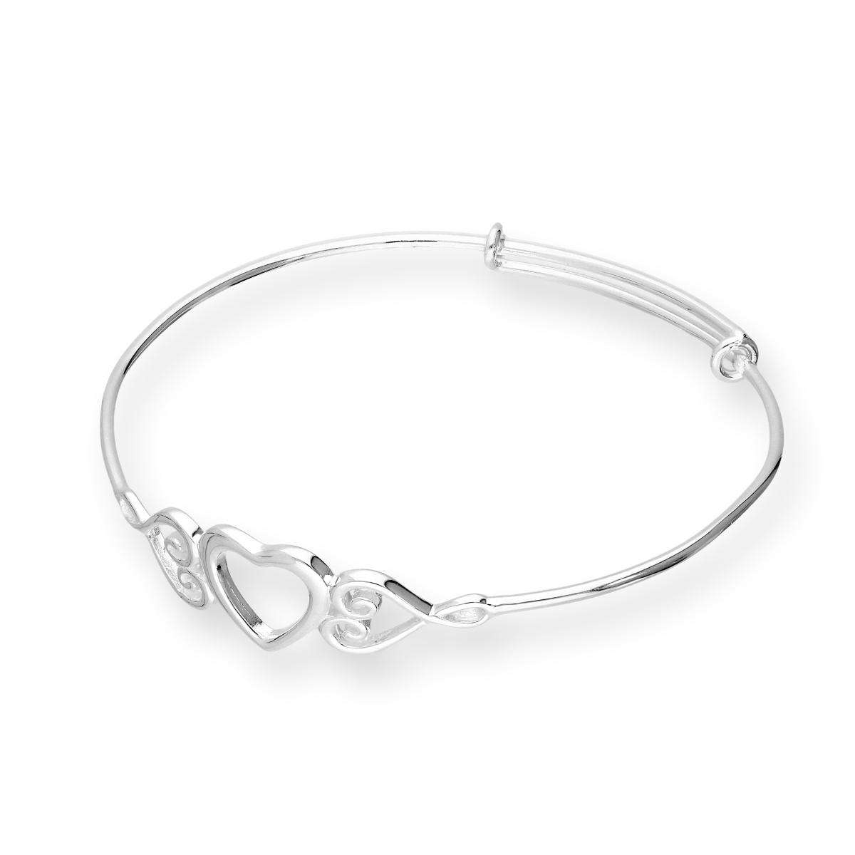Alterative image for Sterling Silver Triple Open Heart Childs Adjustable Bangle