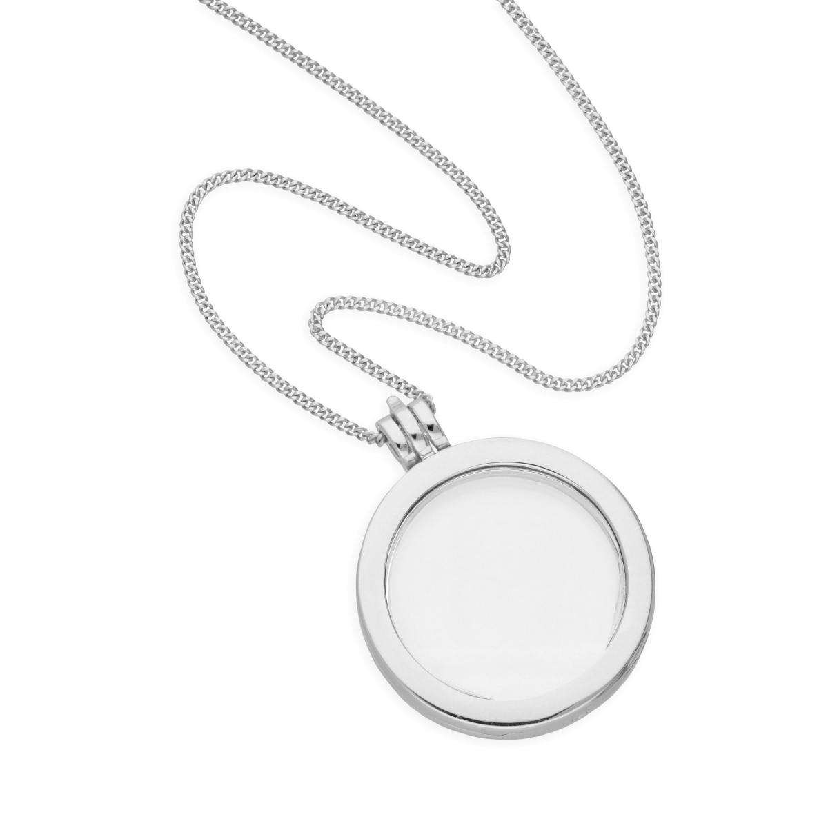 Alterative image for Large Sterling Silver Round Floating Charm Locket on Chain 16 - 24 Inches