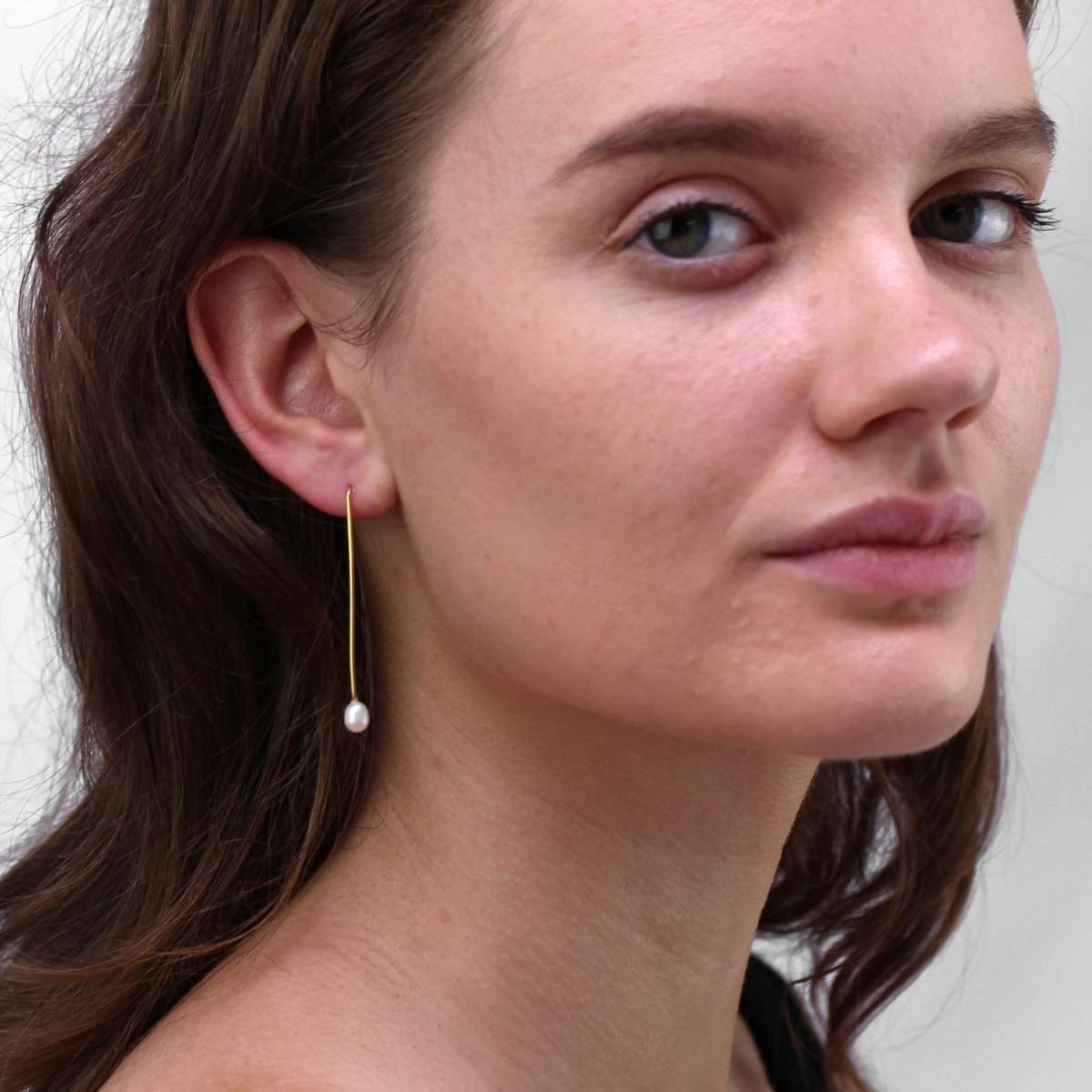 Alterative image for Gold Plated Sterling Silver & Pearl Drop Stud Earrings