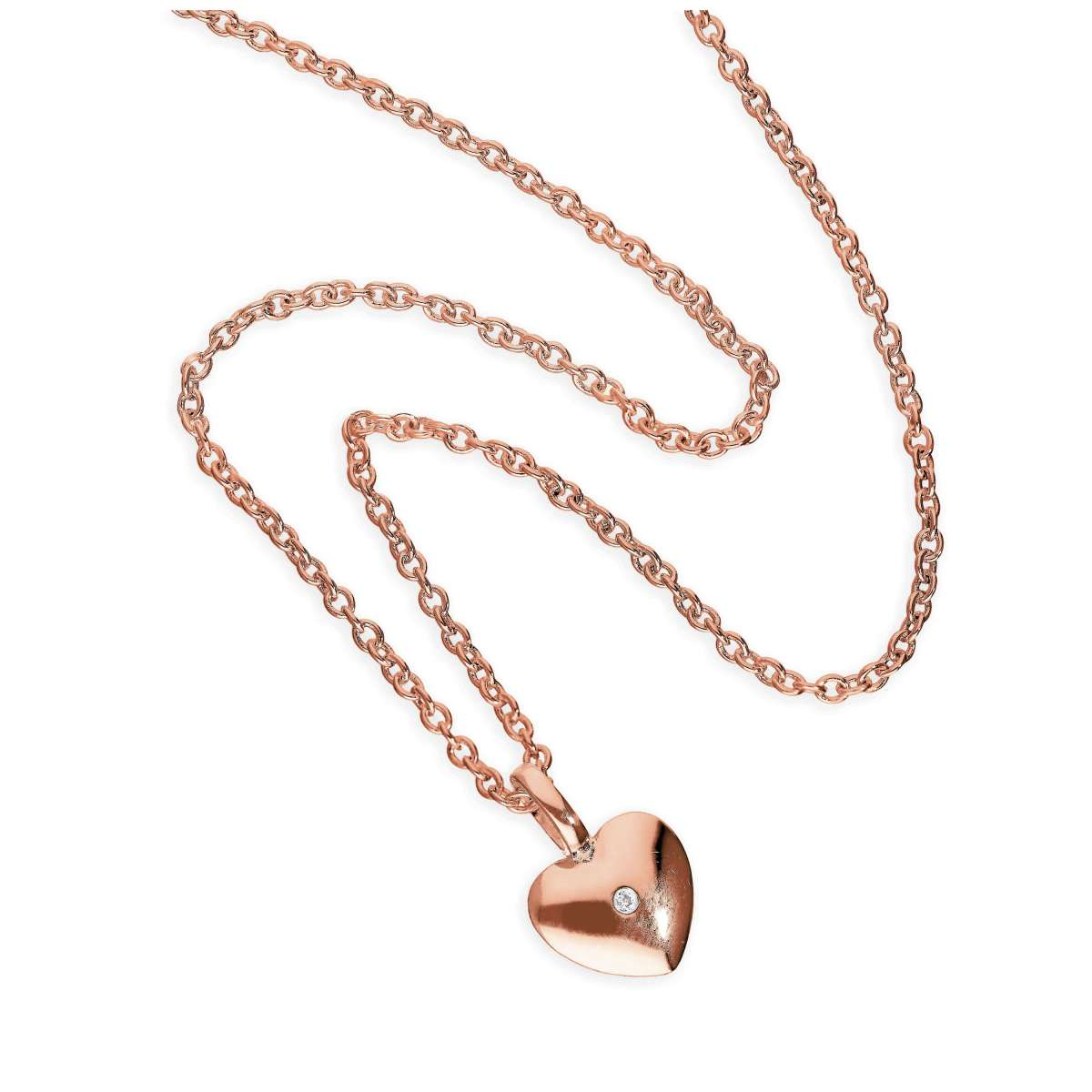 Alterative image for Rose Gold Plated Sterling Silver & Genuine Diamond 18 Inch Heart Necklace