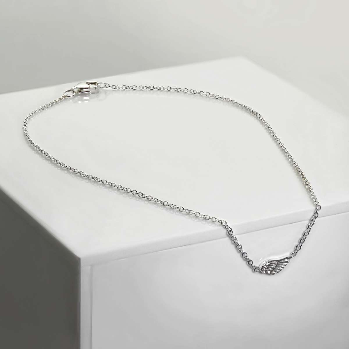 Alterative image for Fine Sterling Silver Anklet with Small Angel Wing