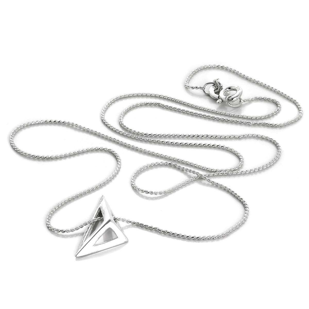 Alterative image for Sterling Silver Open Triangle Necklace on Foxtail Chain