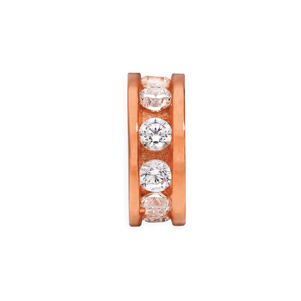 Alterative image for Rose Gold Plated Sterling Silver 3mm Round Channel Set Clear CZ Ring Bead