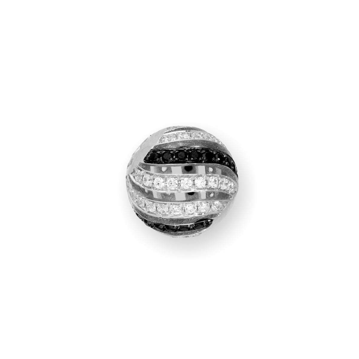 Alterative image for 9ct Rhodium Plated White Gold & CZ Crystal Open Waves Bead Charm
