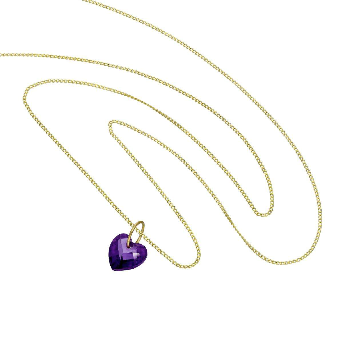 Alterative image for 9ct Gold & Purple CZ Crystal Heart Pendant Necklace 16 - 20 Inches