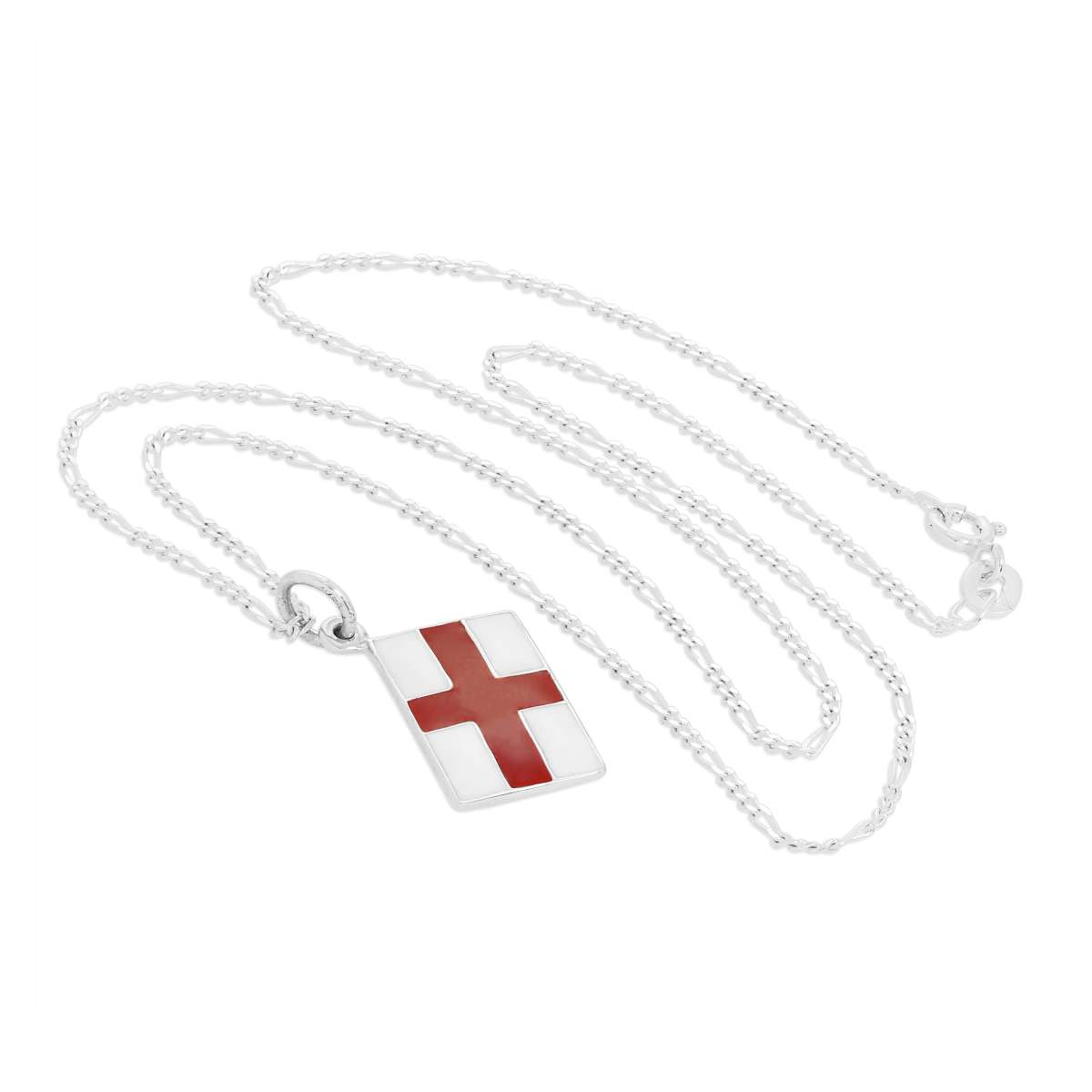 Alterative image for Sterling Silver English Flag Pendant Necklace 14 - 32 Inches