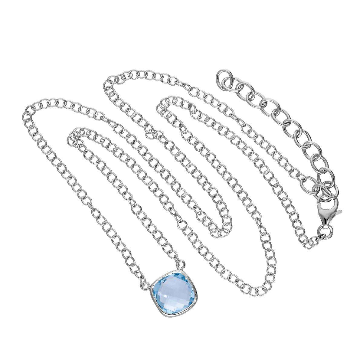 Alterative image for Sterling Silver & Genuine Sky Blue Topaz 18 Inch Necklace w 2 Inch Extender
