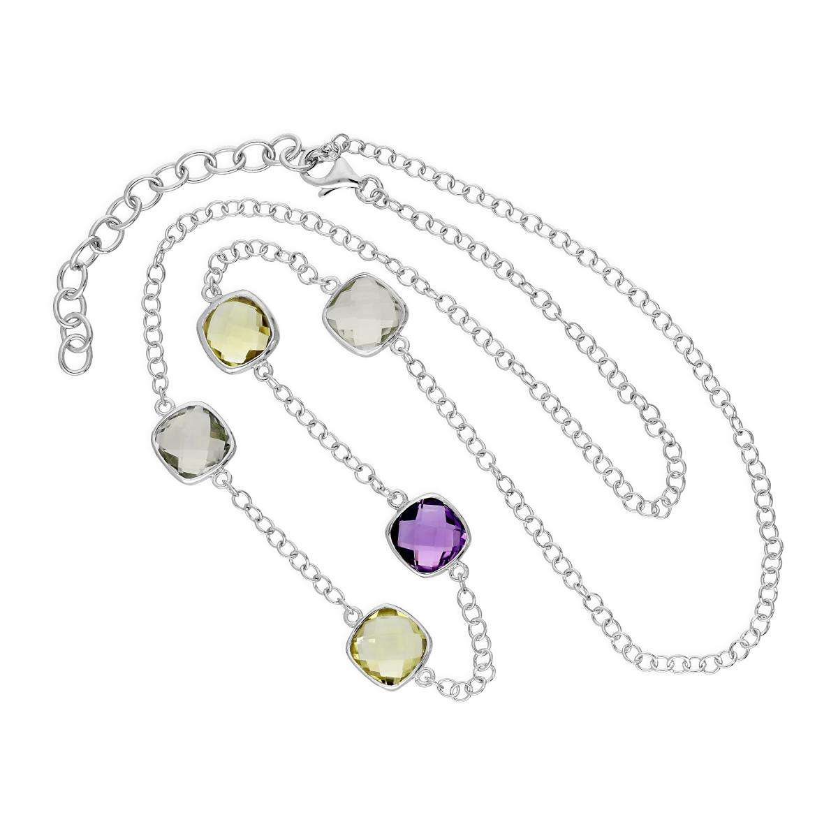 Alterative image for Sterling Silver 18 Inch Necklace w Round Genuine Amethyst & Green Amethyst