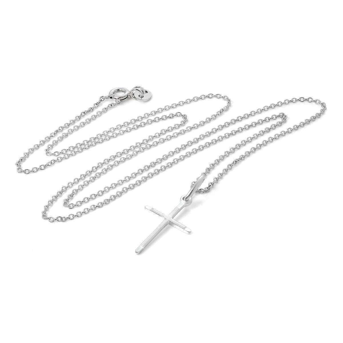 Alterative image for Sterling Silver Matt & Polished Cross Pendant Necklace 16 - 22 Inches