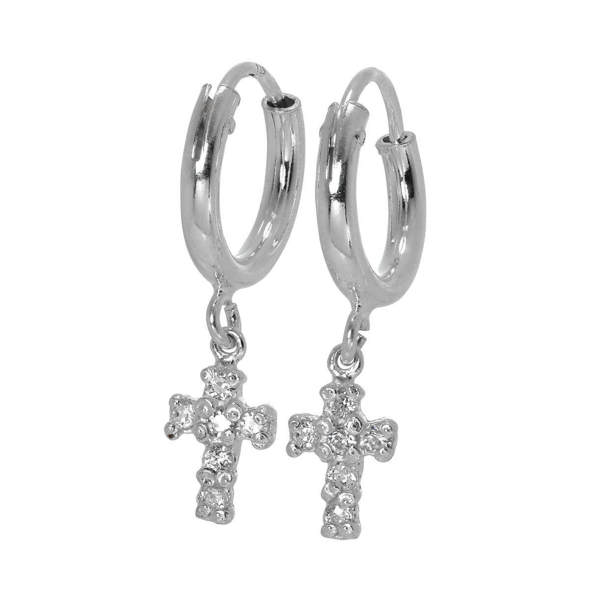 Alterative image for Sterling Silver Sleeper Hoop Earrings with CZ Crystal Encrusted Cross