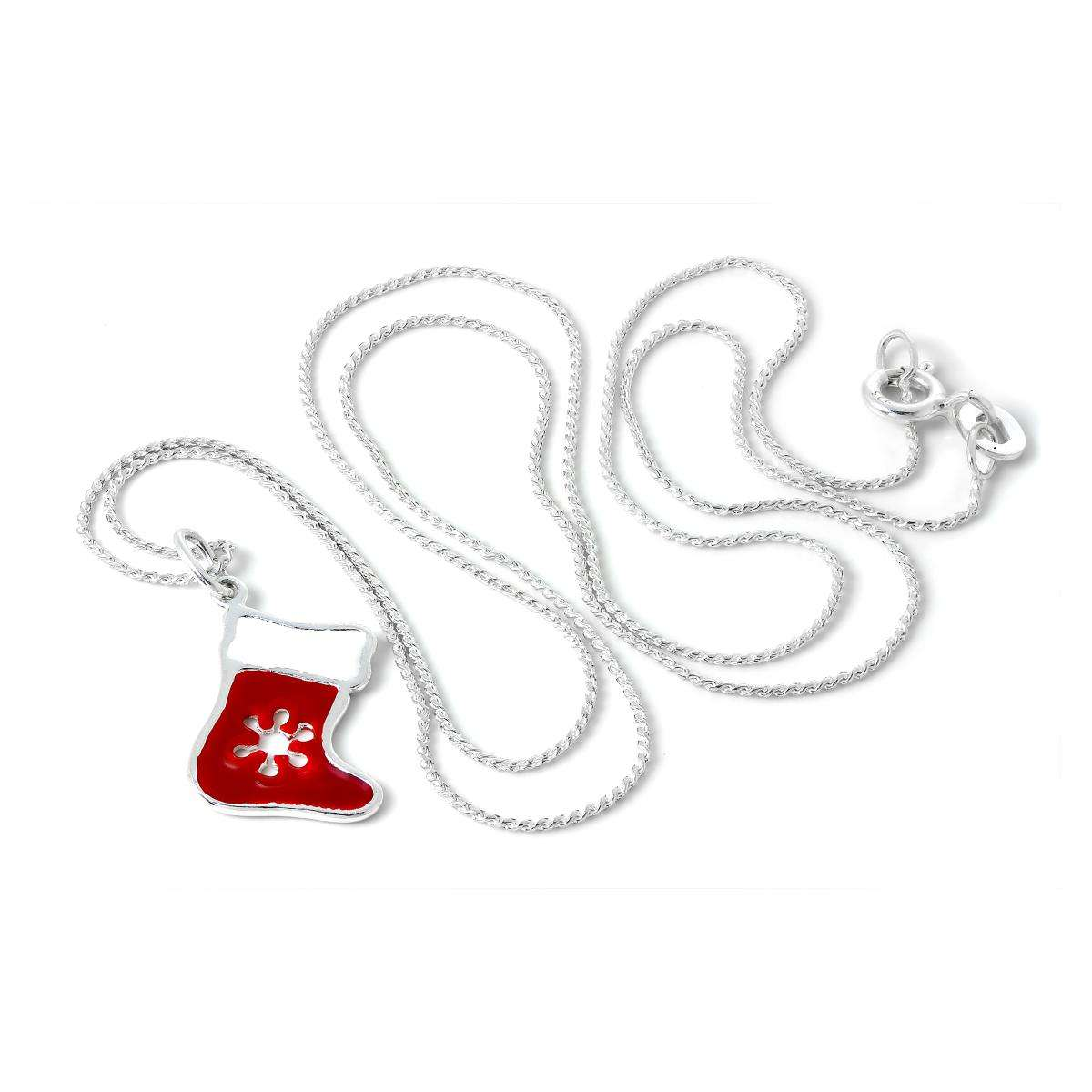 Alterative image for Sterling Silver Enamelled Red Christmas Stocking Pendant Necklace 16 - 22 Inches
