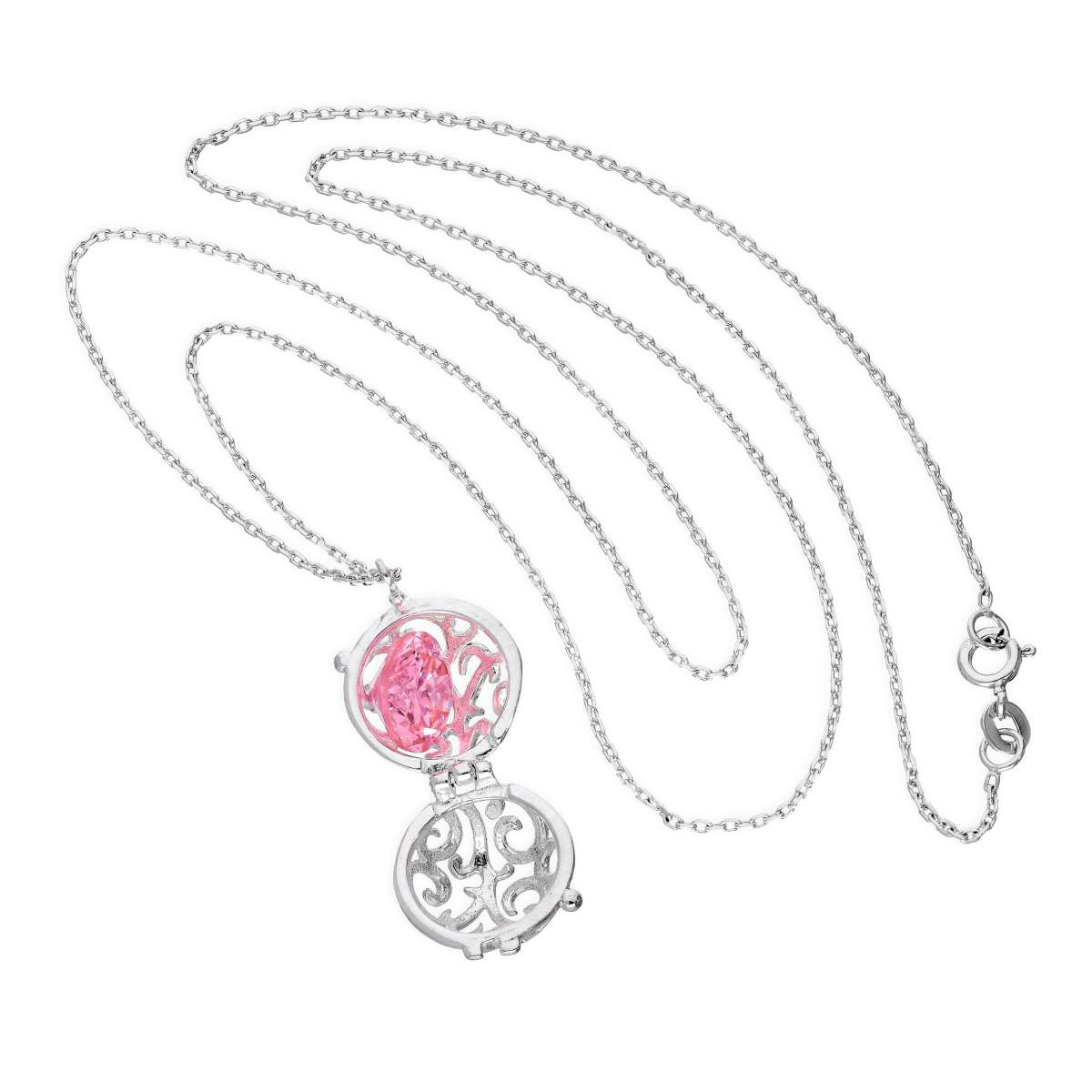 Alterative image for Sterling Silver Filigree Sphere Locket with Pink CZ Crystal