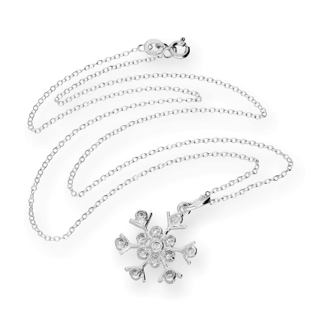 Alterative image for Large Sterling Silver & CZ Crystal Snowflake 18 Inch Necklace