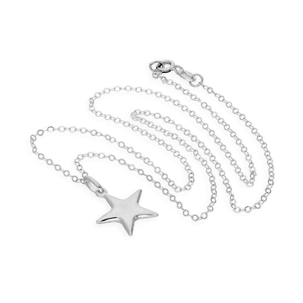 Alterative image for Sterling Silver Star Pendant Necklace 16 - 22 Inches