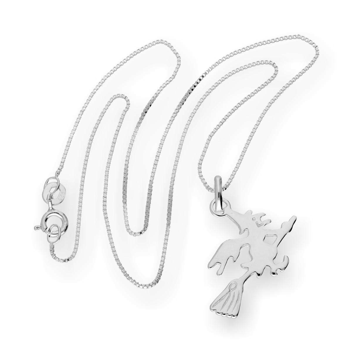 Alterative image for Sterling Silver Witch on a Broomstick Pendant Necklace 14 - 22 Inches
