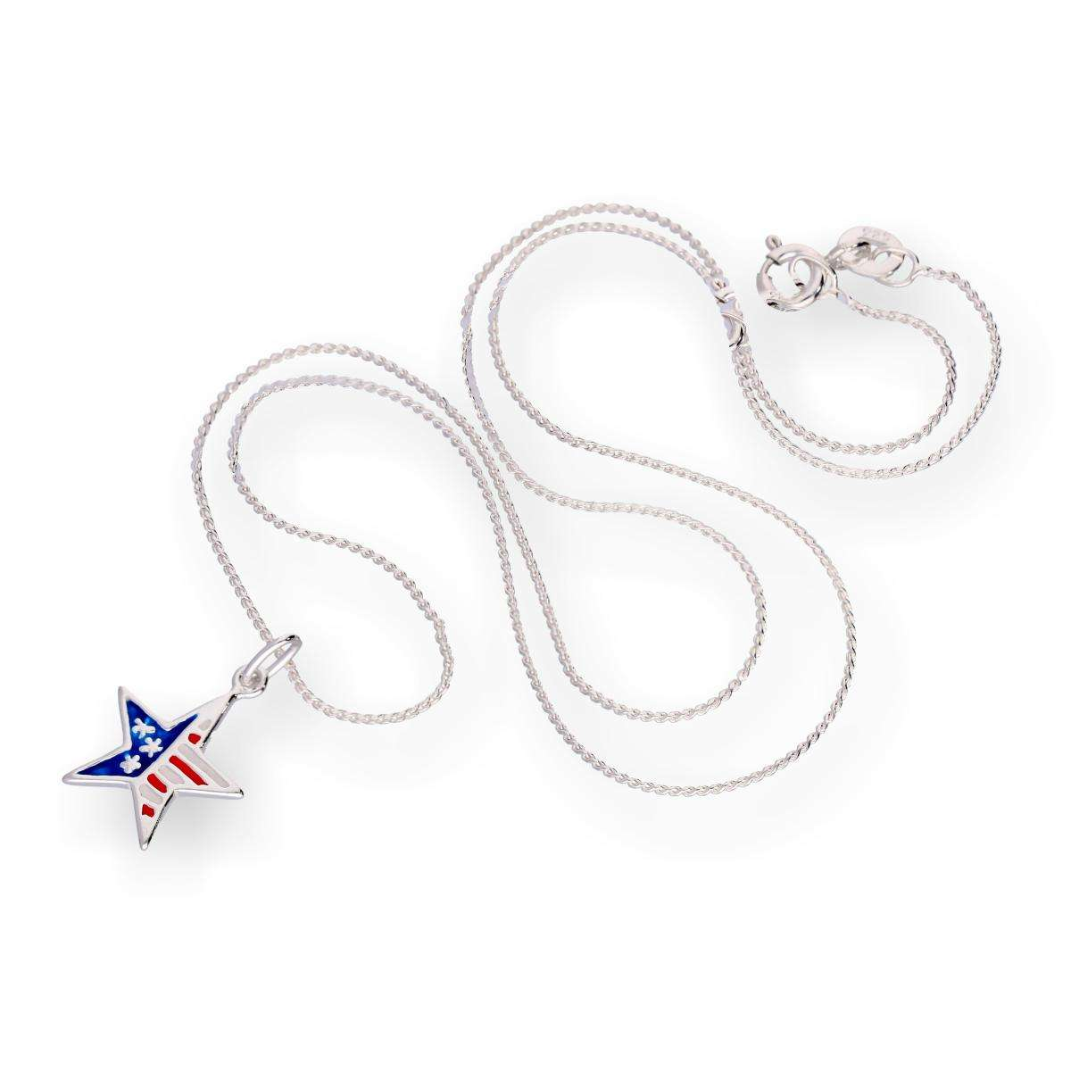Alterative image for Sterling Silver & Enamel American Flag Star Pendant Necklace 16 - 22 Inches